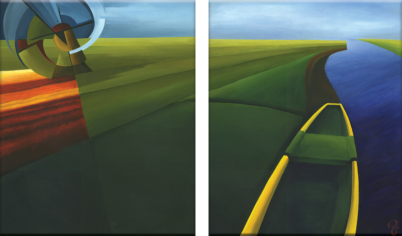 ROSELYNCLOAKE Canal Boat Series Diptych p1 p2 60x100